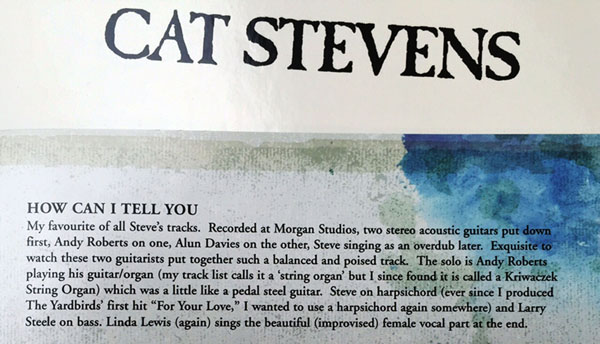 Sleeve notes from the re-released Teaser and the firecat album, crediting Andy Roberts playing on the album.