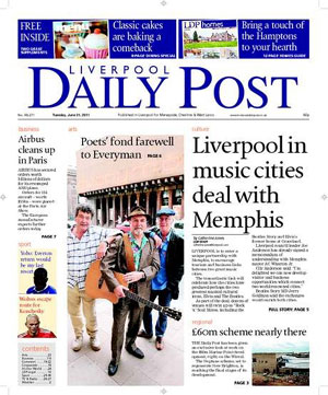 Front cover of the Liverpool Daily Post