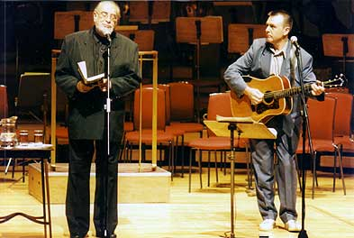 Adrian Henri and Andy Roberts onstage at the Philharmonic Hall in Liverpool