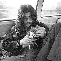 Bob Ronga in the back of the bus 1972.  Photo Credit: Andy Roberts