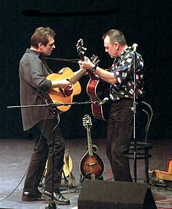 Andy Roberts and Iain Matthews playing at Queens College Bristol in 2001. Photo: Paul Cary