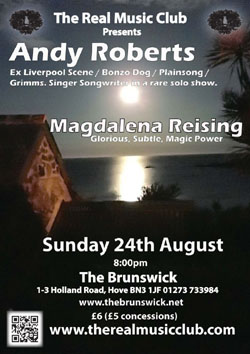 Andy Roberts: A rare solo gig at The brunswick in Hove, 24th August 2014